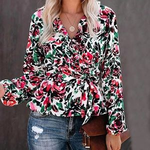 - - Classic floral Long Sleeve Floral Blouse…